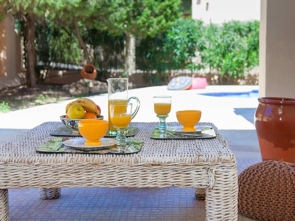 mediterranean breakfast in ibiza with orange juice