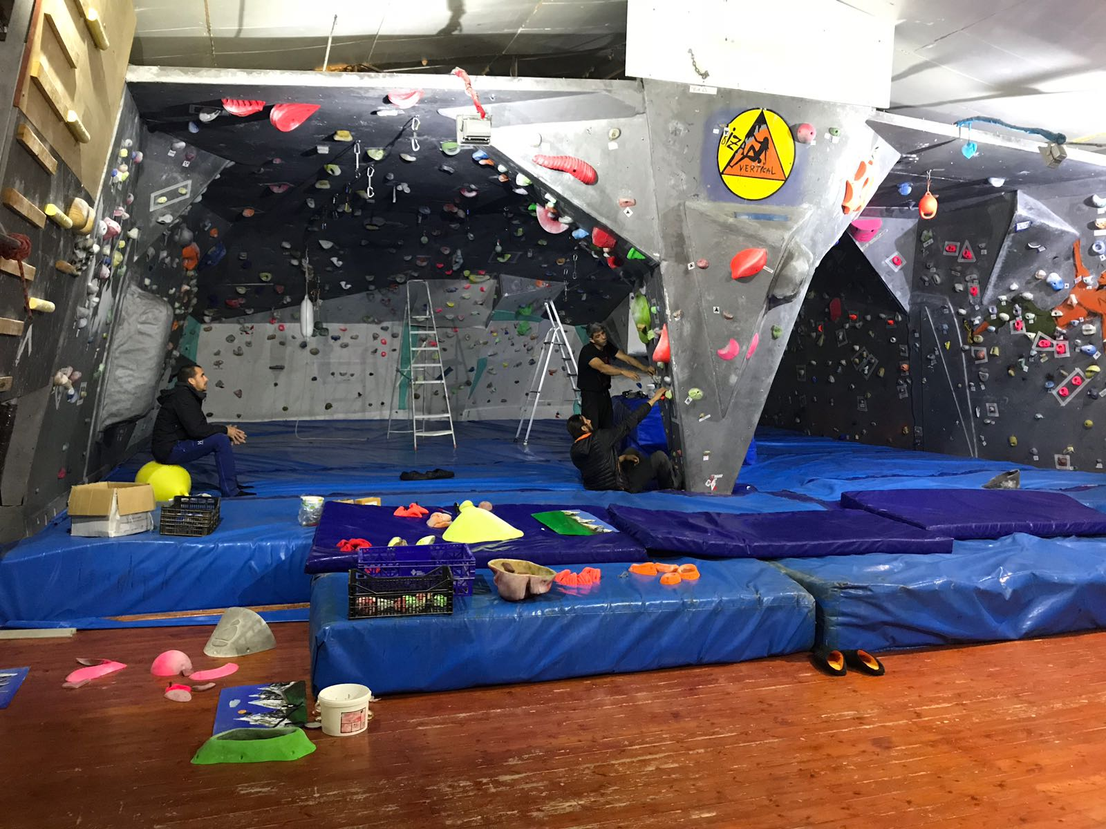 Practice climbing on these artifitial climbing walls