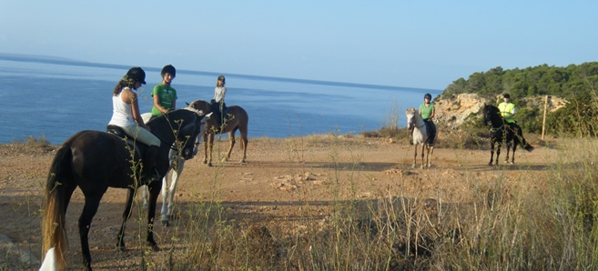 Horse riding as an adventurous activity for tourism in Ibiza.