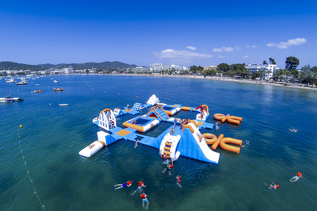 Adventurous tourism in Ibiza on water slides