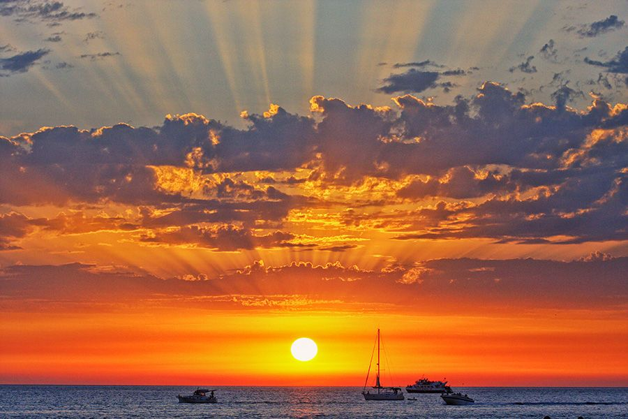 A spectacular sunset from the beaches of Ibiza