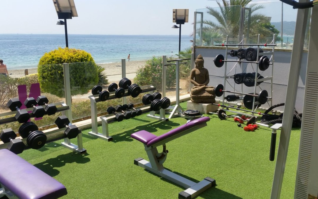 Dumbels in an outdoor gym in Ibiza