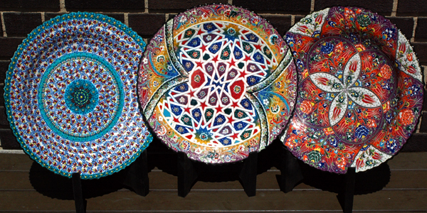3 Hand Painted Ceramic Plates