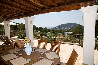 Views from the terrace of a rental house in Ibiza