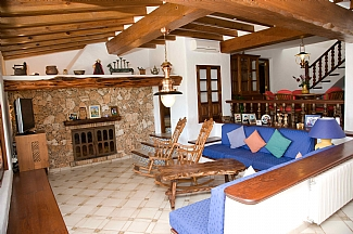 rustic interior living room of a rental house in ibiza