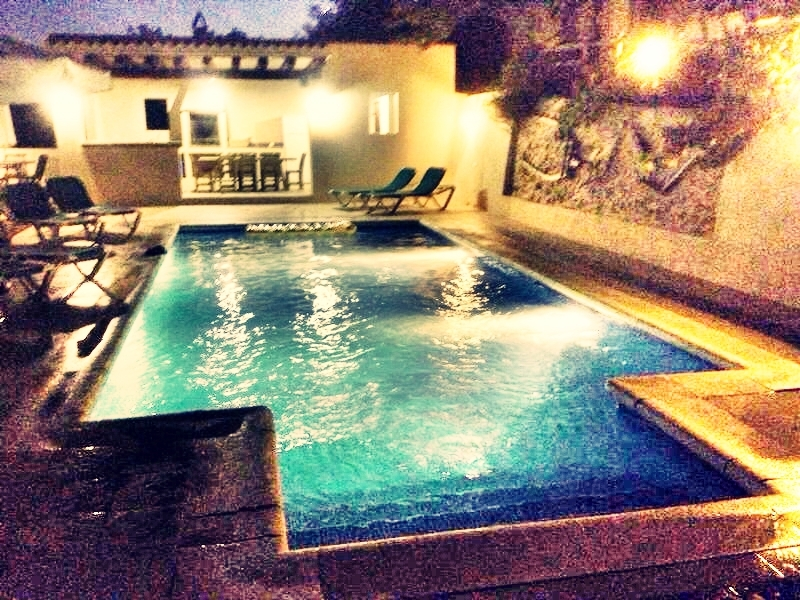 Pool zone in a rental house of Ibiza at night