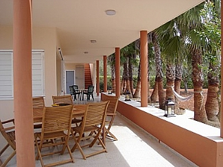 Community terrace in a rental house of Ibiza