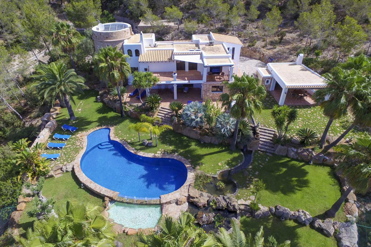 Air view house with pool and large garden in ibiza