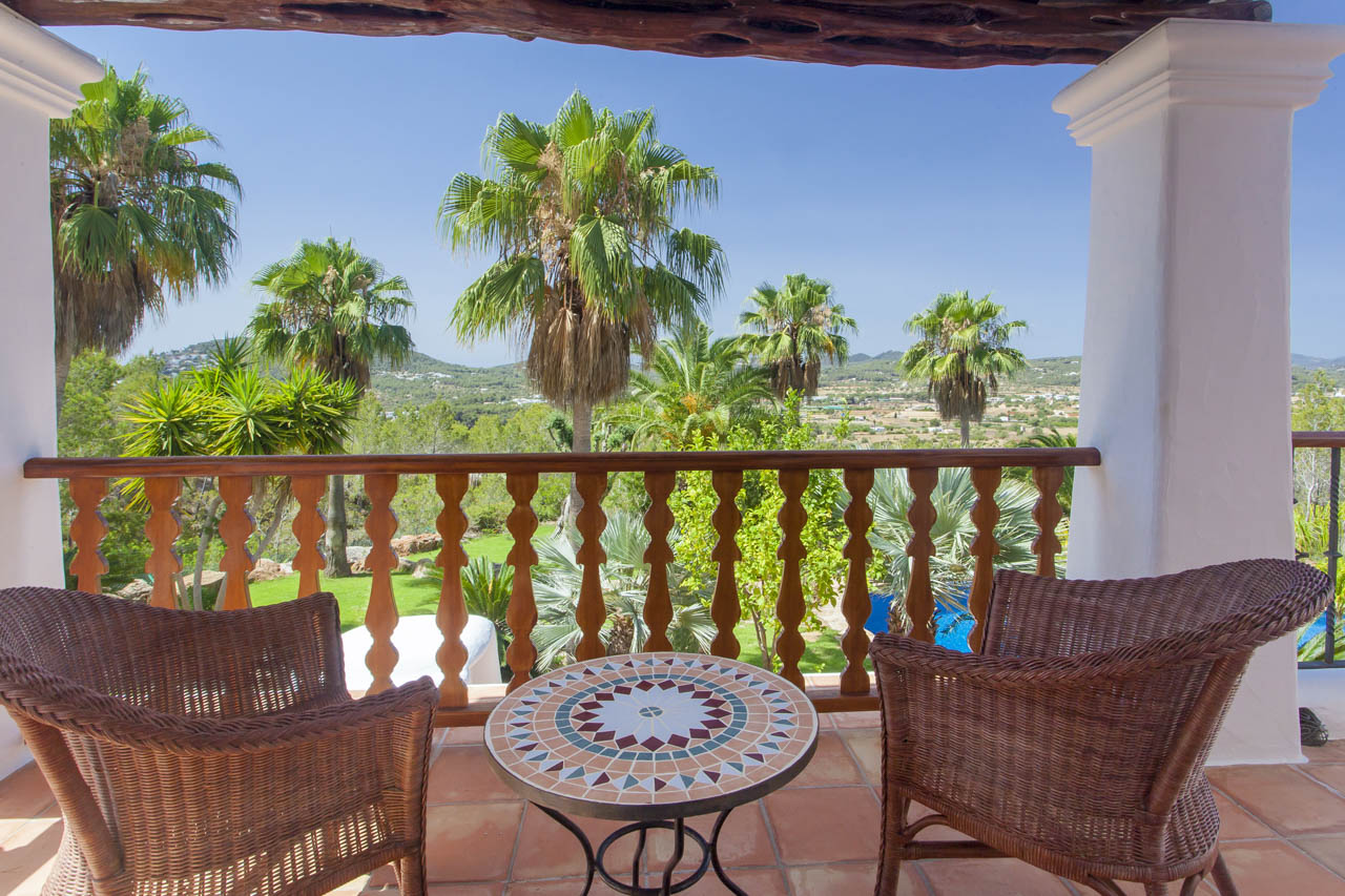 Incredible views to the garden and the landscape from the terrace of the house to rent in ibiza