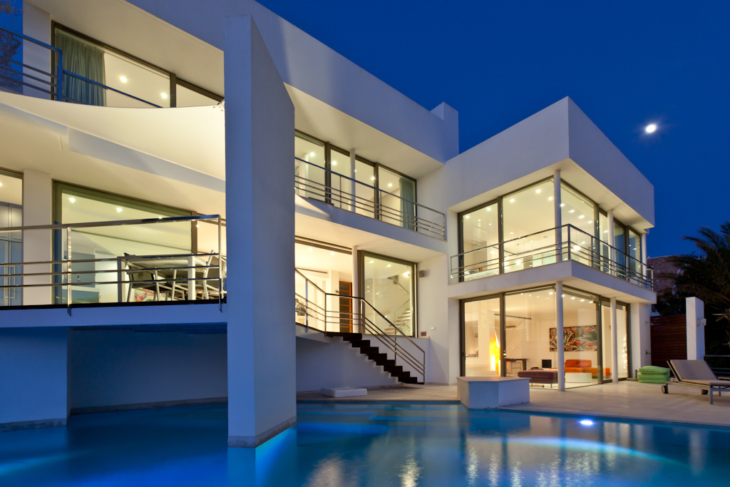 general view of a rental house in ibiza at night