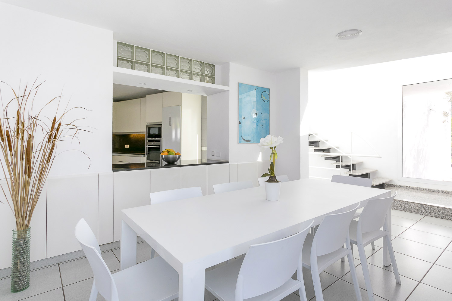 Modern dining room for eight people