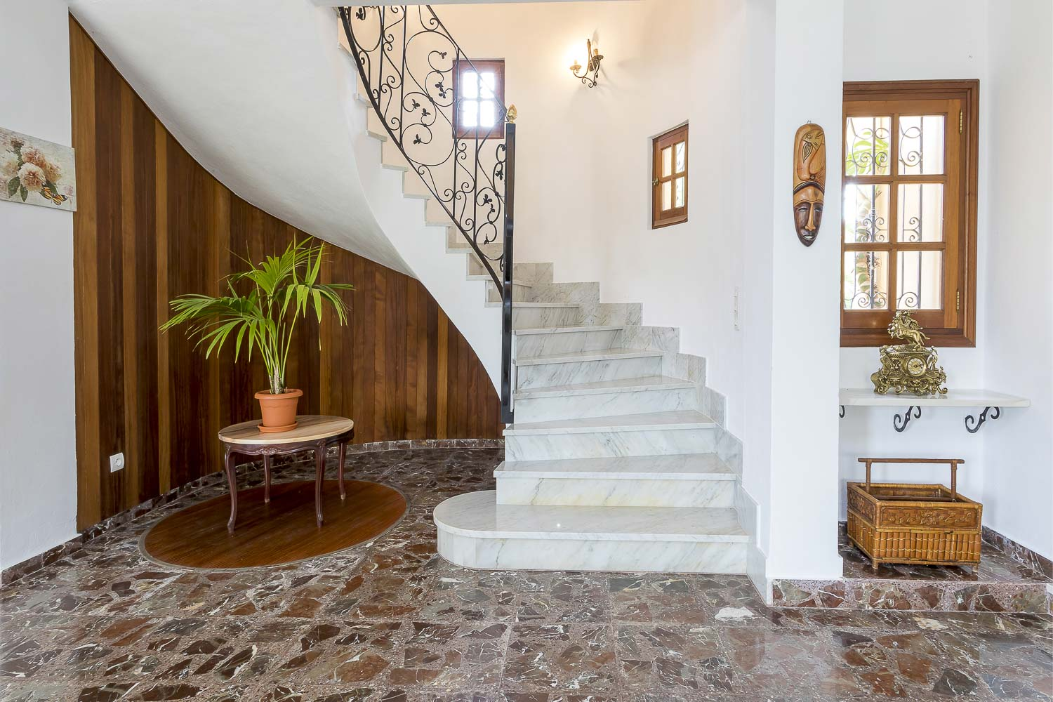 Marble stairs to second floor in a rental house in Ibiza