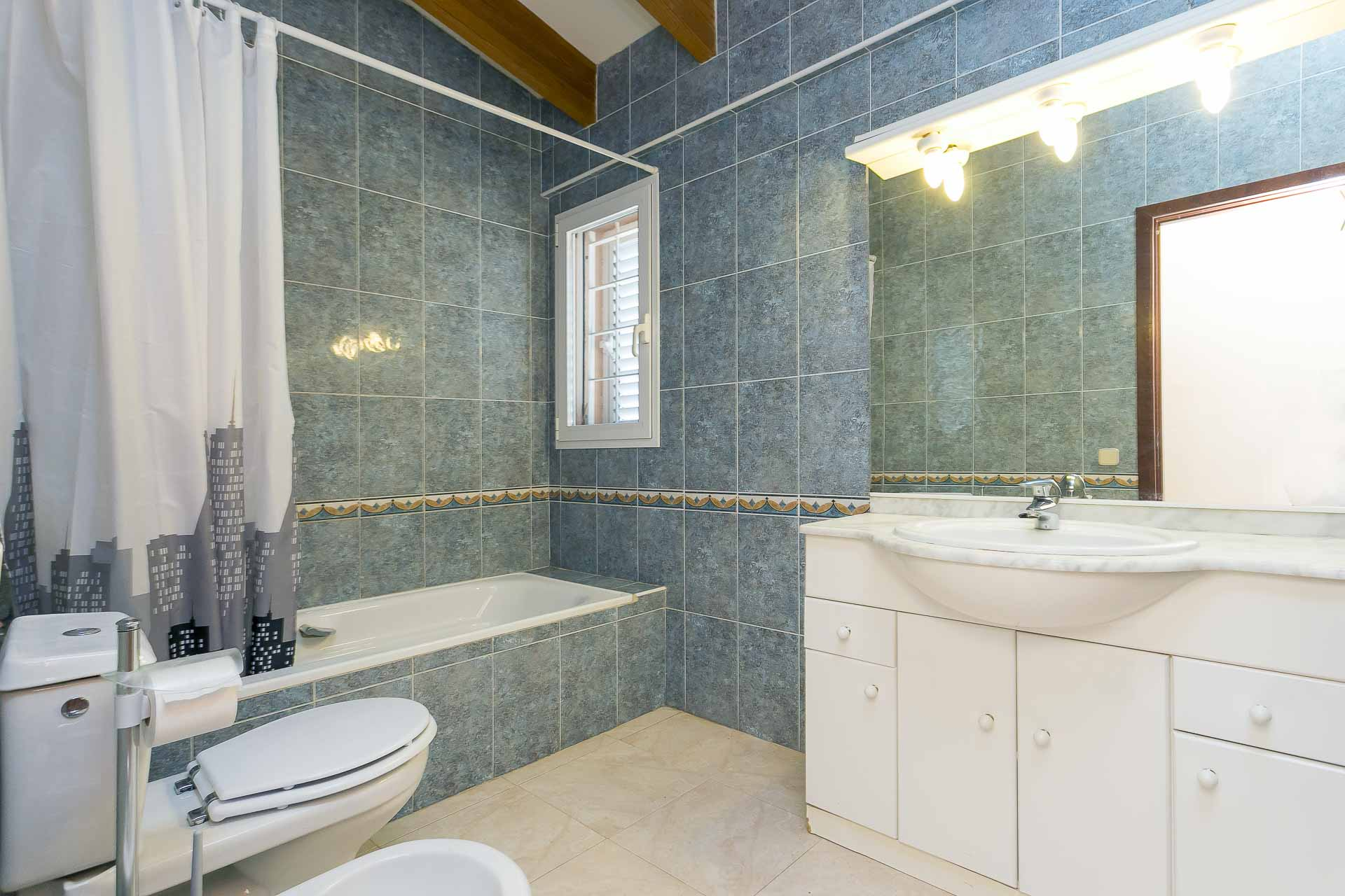 Large bathroom with bath and shower house rental