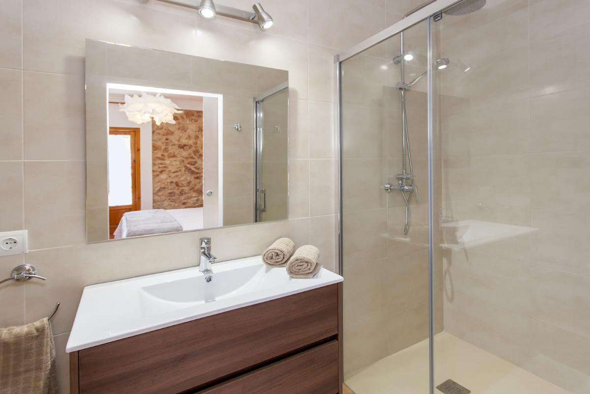 Bathroom and spacious shower
