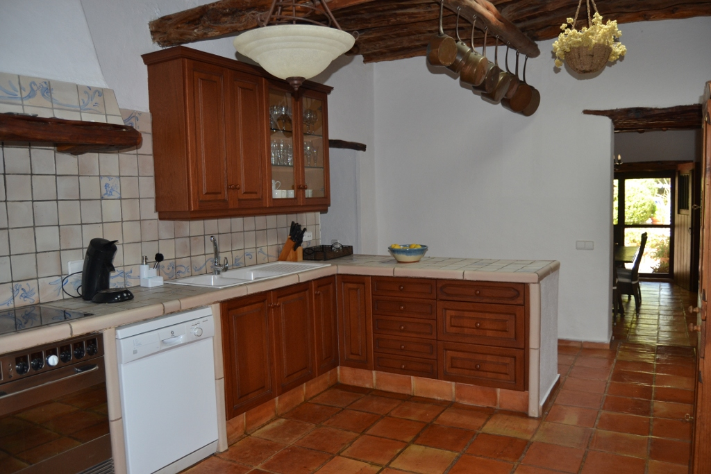 Rustic kitchen in a rental house in Ibiza